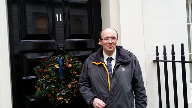 James McBrearty outside Number 11 Downing Street