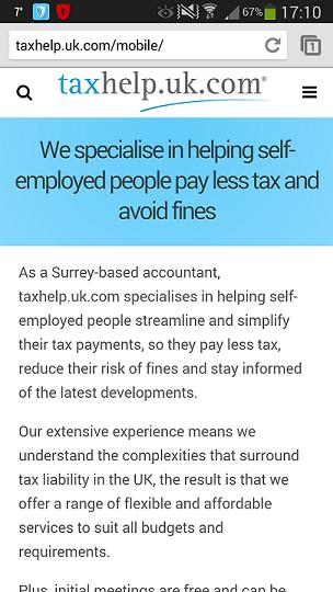 taxhelp.uk.com mobile website