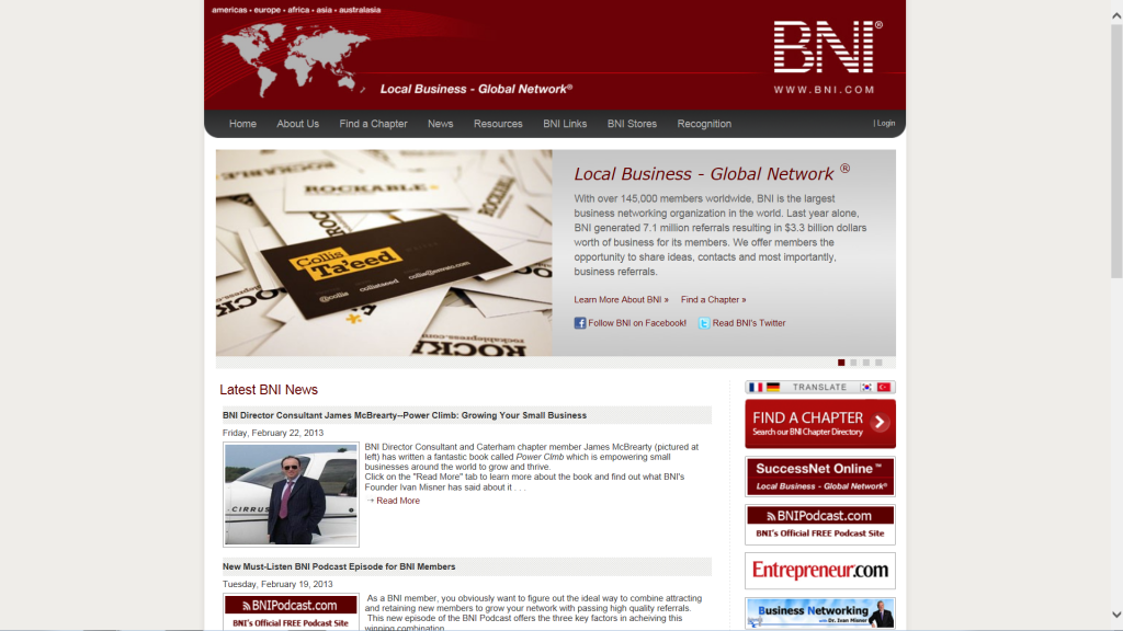 Power Climb book featured on the bni.com homepage