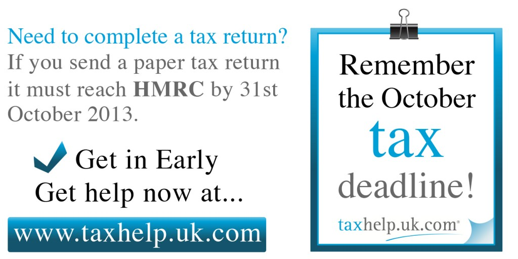 31st October HMRC tax return deadline